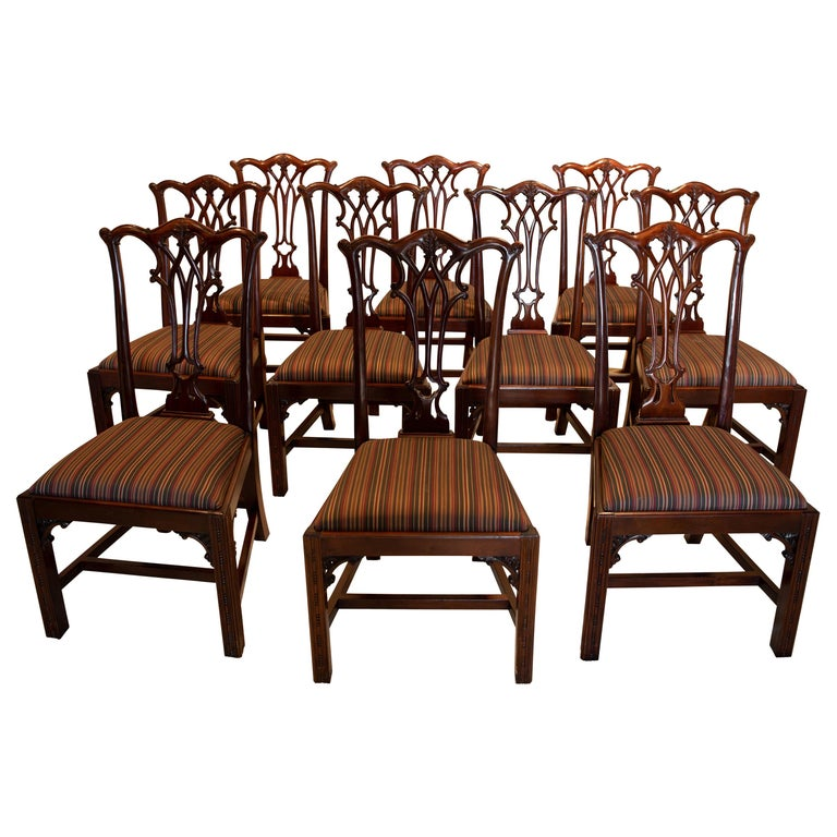 Set of 12 Mahogany Chippendale Style Dining Chairs For Sale