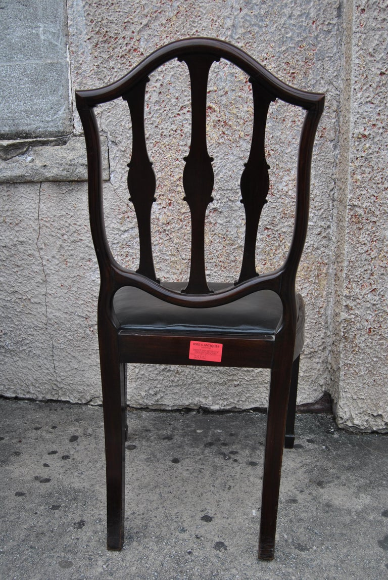 Set of 12 Mahogany English Shield Back Hepplewhite Style Chairs For Sale 8