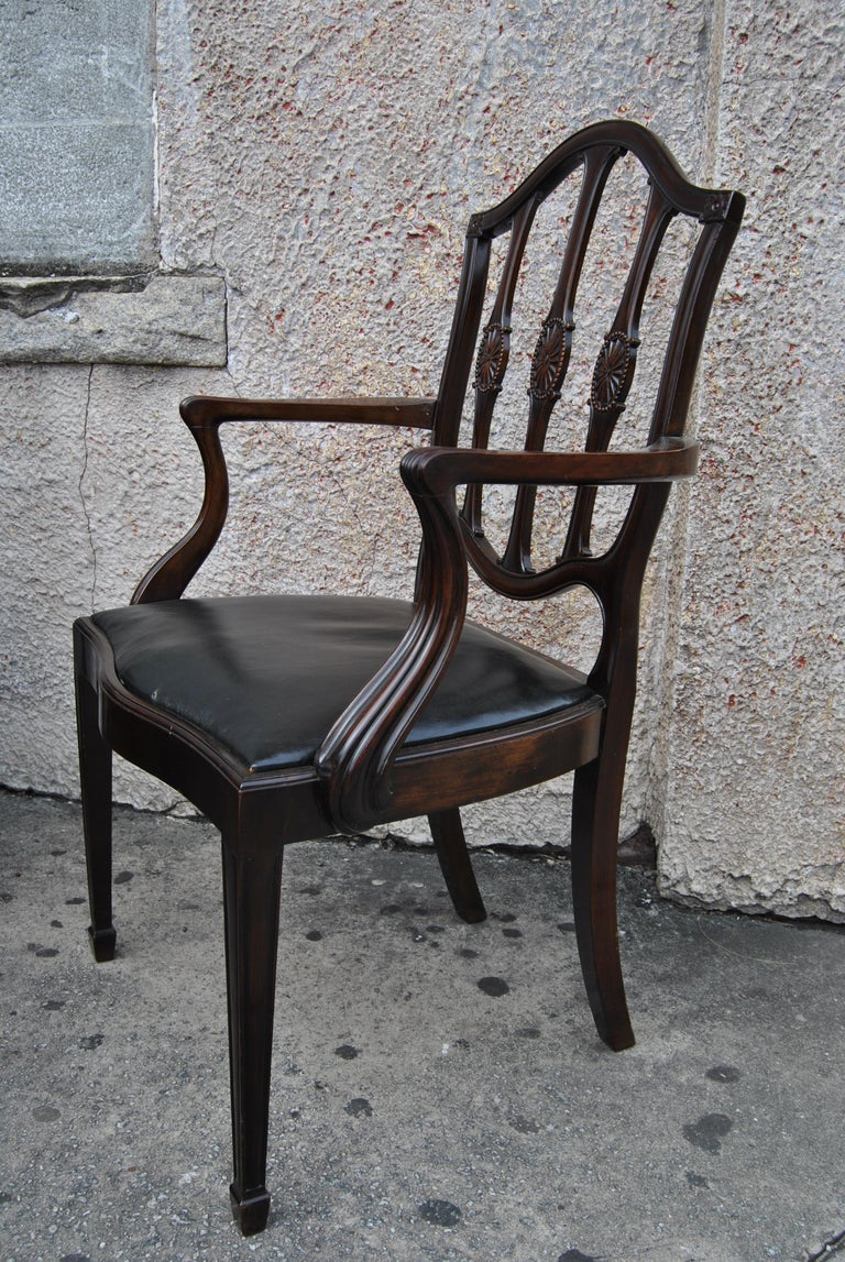 Set of 12 Mahogany English Shield Back Hepplewhite Style Chairs In Good Condition For Sale In Savannah, GA