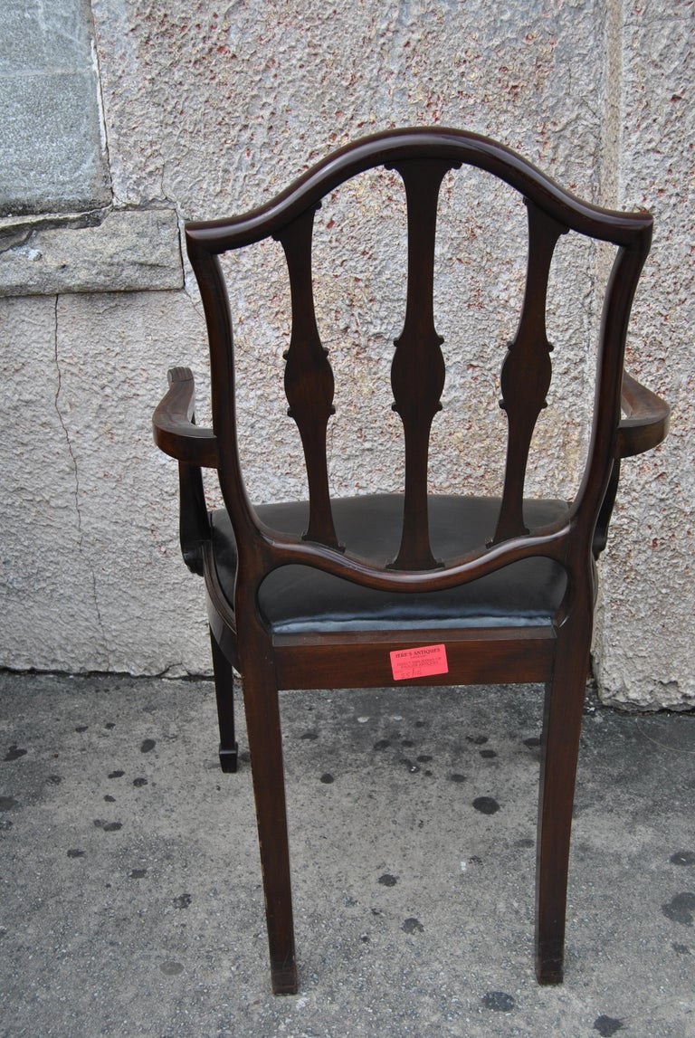 Set of 12 Mahogany English Shield Back Hepplewhite Style Chairs For Sale 4