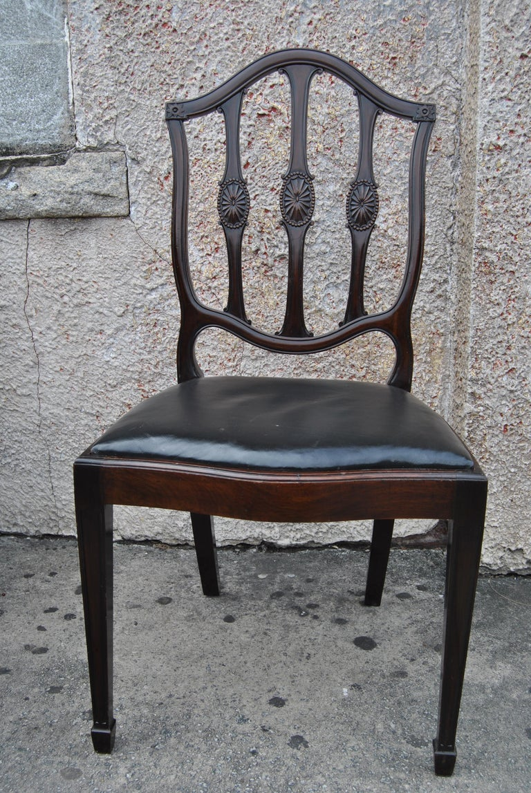 Set of 12 Mahogany English Shield Back Hepplewhite Style Chairs For Sale 5