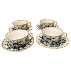 Set of 12 Meissen Blue Onion Teacups and Saucers with a Gold Rim