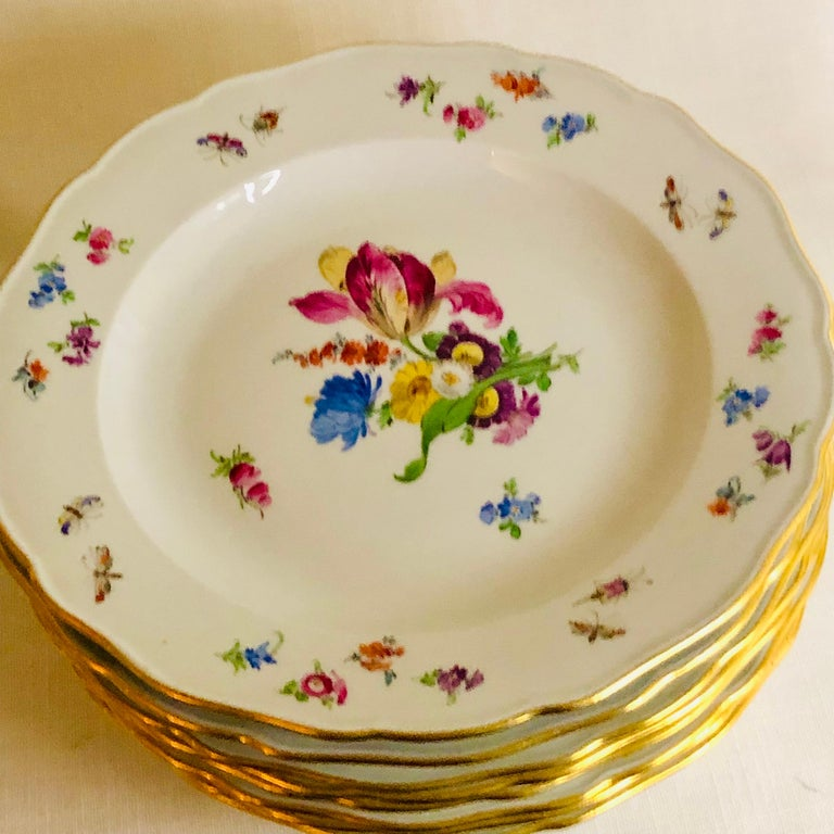 Set of 12 Meissen Dinner Plates Each Painted with a Different Bouquet of Flowers For Sale 2