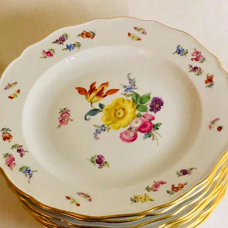 Set of 12 Meissen Dinner Plates Each Painted with a Different Bouquet of Flowers For Sale 3
