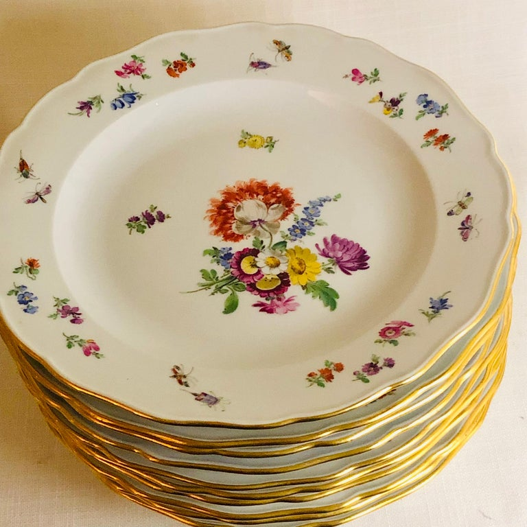 Set of 12 Meissen Dinner Plates Each Painted with a Different Bouquet of Flowers For Sale 4