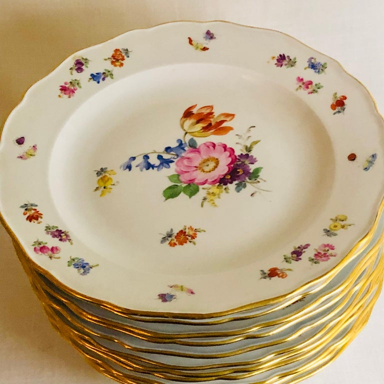 Set of 12 Meissen Dinner Plates Each Painted with a Different Bouquet of Flowers For Sale 5