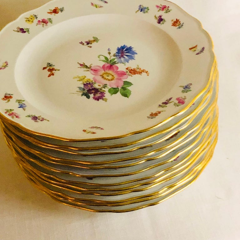Set of 12 Meissen Dinner Plates Each Painted with a Different Bouquet of Flowers For Sale 6