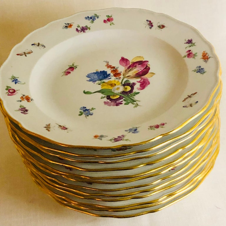 Set of 12 Meissen Dinner Plates Each Painted with a Different Bouquet of Flowers For Sale 7