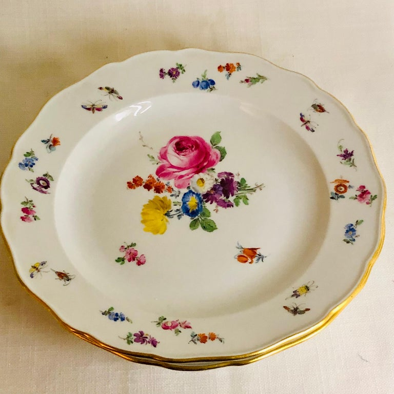 German Set of 12 Meissen Dinner Plates Each Painted with a Different Bouquet of Flowers For Sale