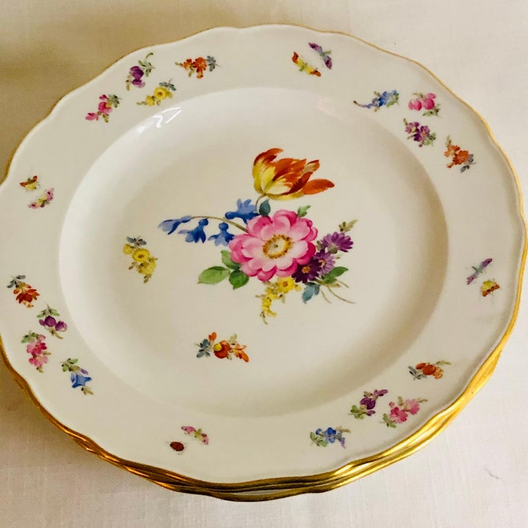 Hand-Painted Set of 12 Meissen Dinner Plates Each Painted with a Different Bouquet of Flowers For Sale