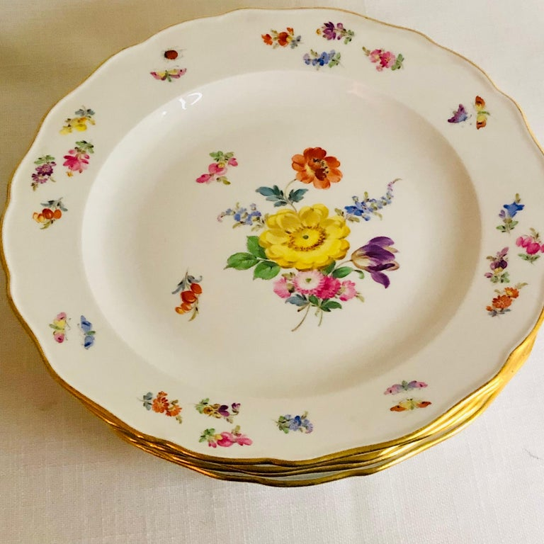 Set of 12 Meissen Dinner Plates Each Painted with a Different Bouquet of Flowers In Good Condition For Sale In Boston, MA