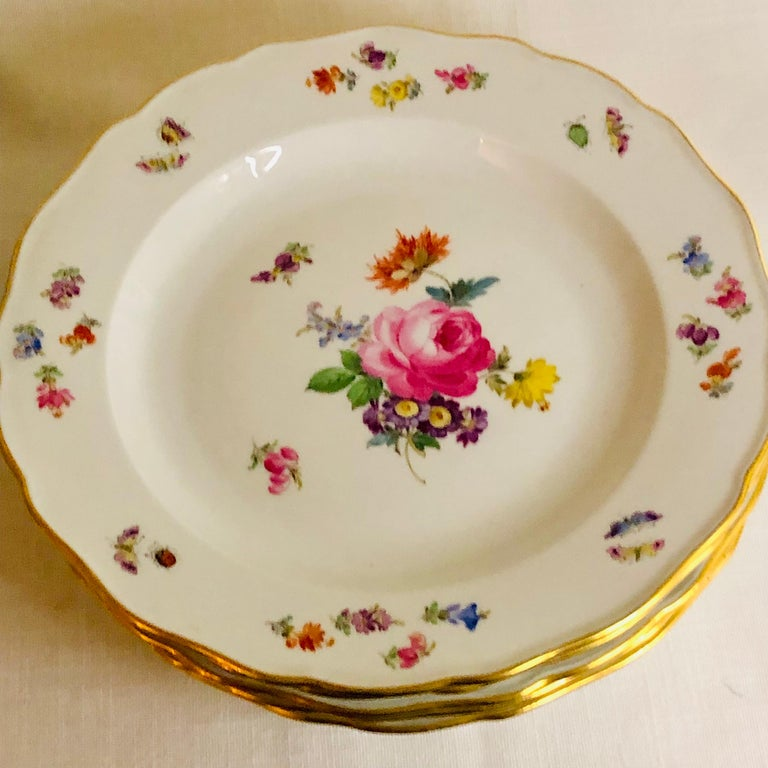 Early 20th Century Set of 12 Meissen Dinner Plates Each Painted with a Different Bouquet of Flowers For Sale