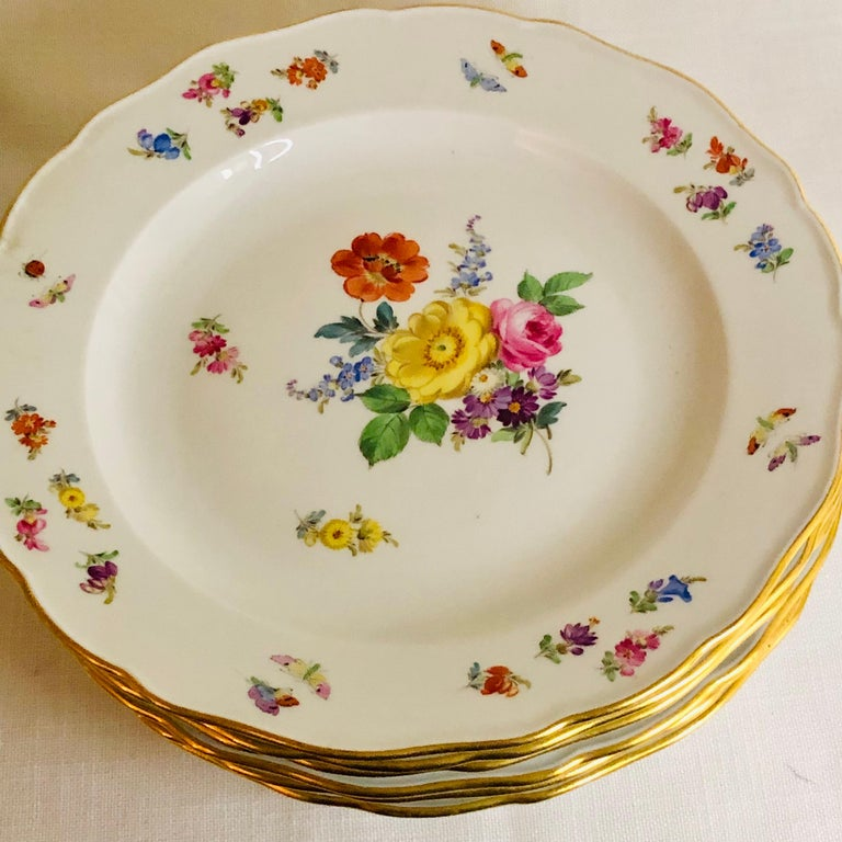 Porcelain Set of 12 Meissen Dinner Plates Each Painted with a Different Bouquet of Flowers For Sale