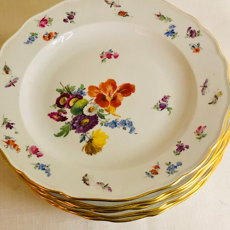 Set of 12 Meissen Dinner Plates Each Painted with a Different Bouquet of Flowers For Sale 1