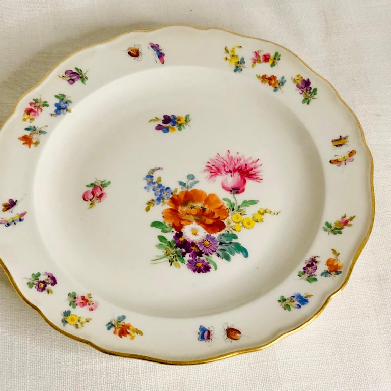 Set of 12 Meissen Luncheon Plates Each Painted with a Different Flower Bouquet For Sale 2