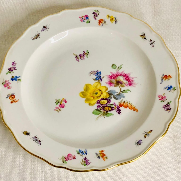 Set of 12 Meissen Luncheon Plates Each Painted with a Different Flower Bouquet For Sale 3