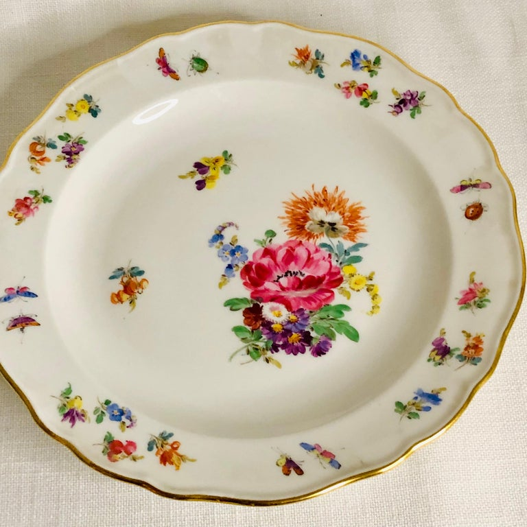 Set of 12 Meissen Luncheon Plates Each Painted with a Different Flower Bouquet For Sale 4