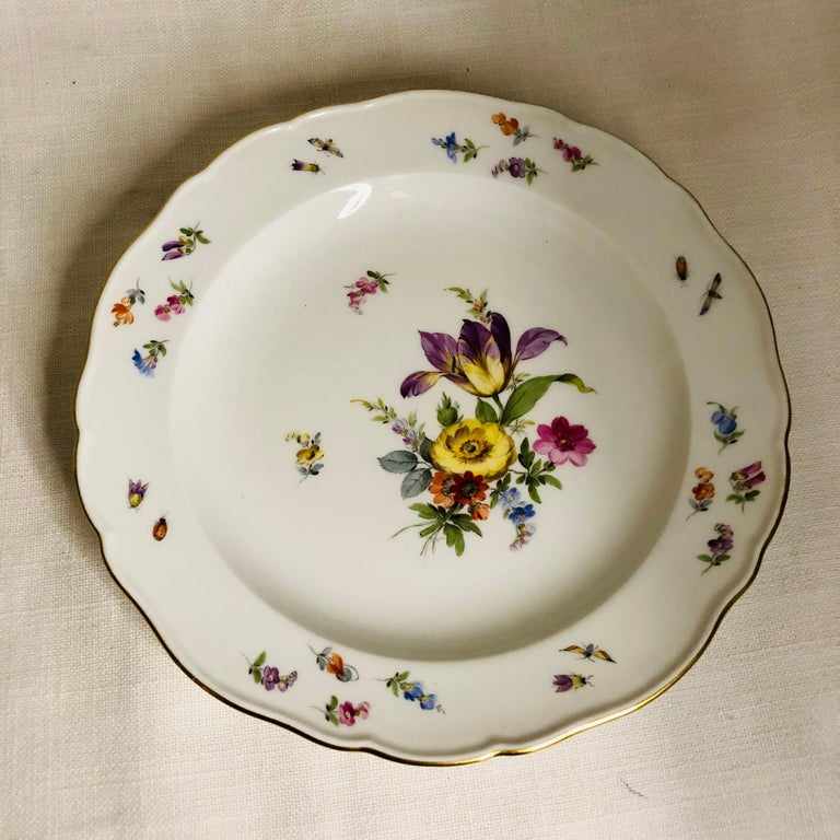 Set of 12 Meissen Luncheon Plates Each Painted with a Different Flower Bouquet For Sale 5