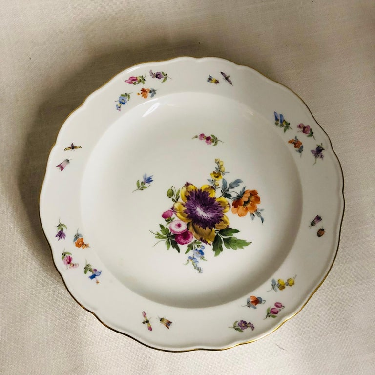 Set of 12 Meissen Luncheon Plates Each Painted with a Different Flower Bouquet For Sale 6