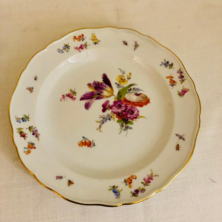 Set of 12 Meissen Luncheon Plates Each Painted with a Different Flower Bouquet For Sale 7