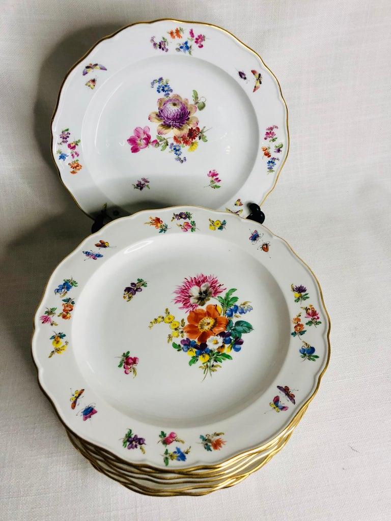 Romantic Set of 12 Meissen Luncheon Plates Each Painted with a Different Flower Bouquet For Sale