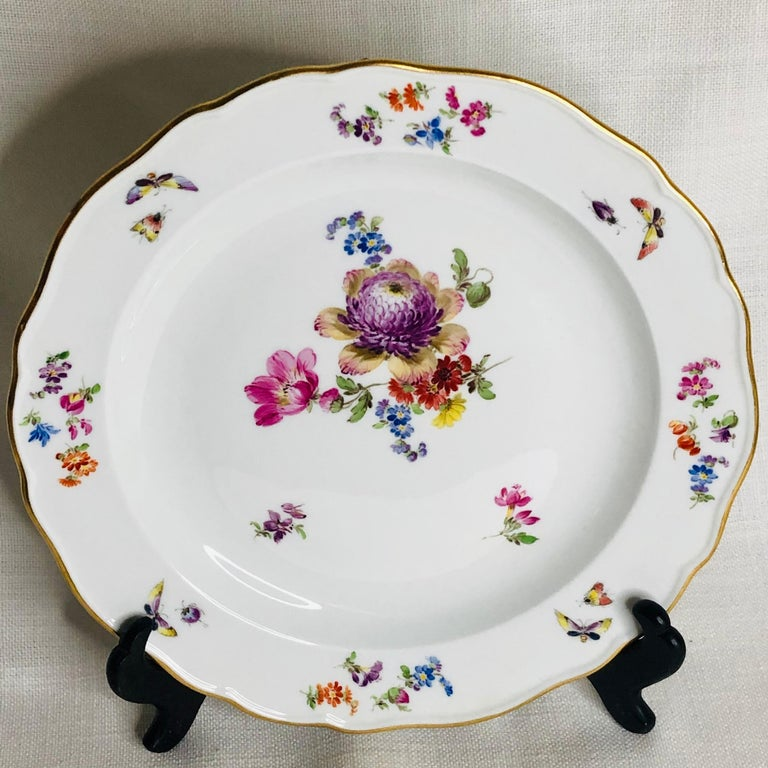 German Set of 12 Meissen Luncheon Plates Each Painted with a Different Flower Bouquet For Sale