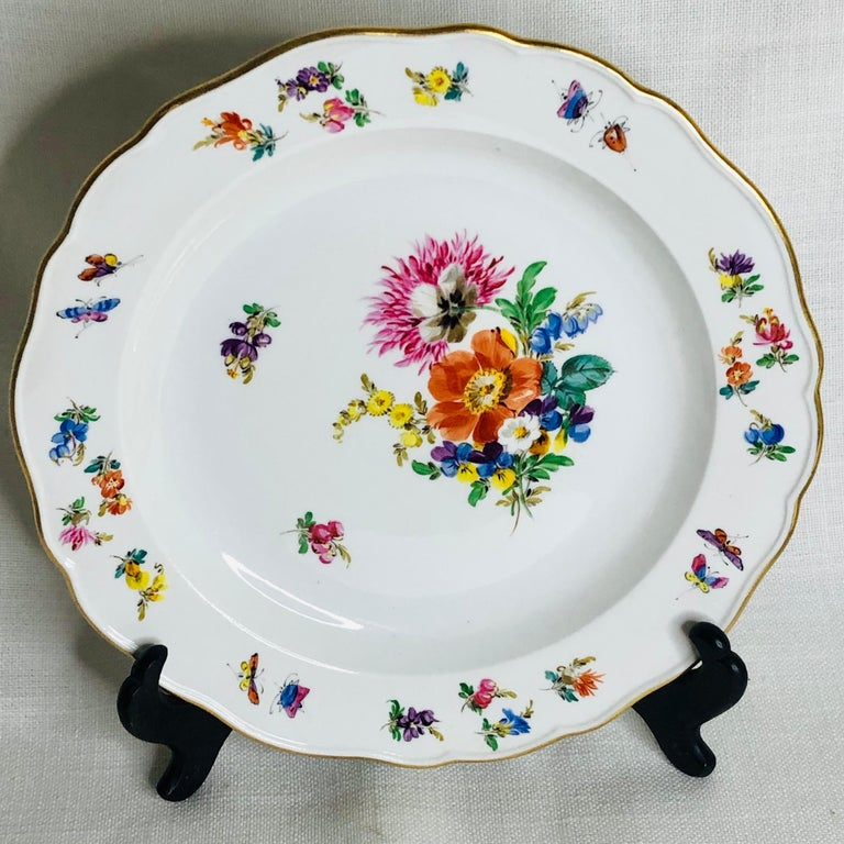 Hand-Painted Set of 12 Meissen Luncheon Plates Each Painted with a Different Flower Bouquet For Sale