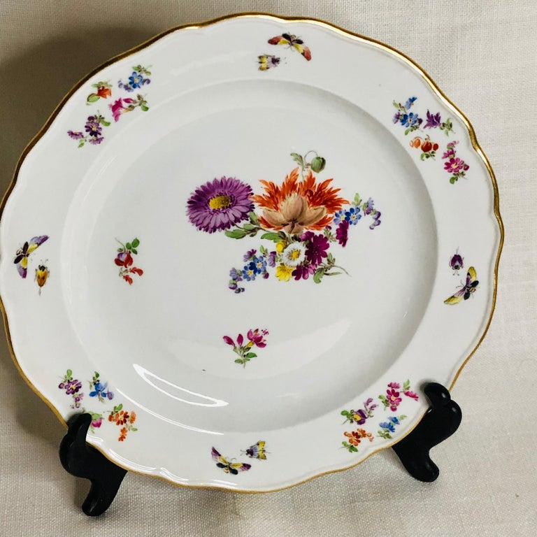 Set of 12 Meissen Luncheon Plates Each Painted with a Different Flower Bouquet In Good Condition For Sale In Boston, MA