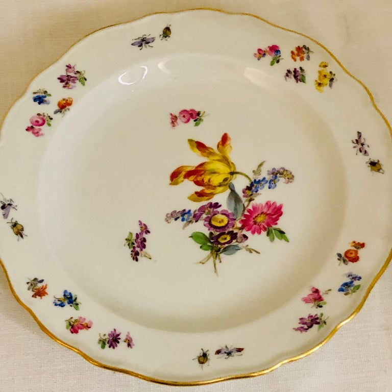 Porcelain Set of 12 Meissen Luncheon Plates Each Painted with a Different Flower Bouquet For Sale