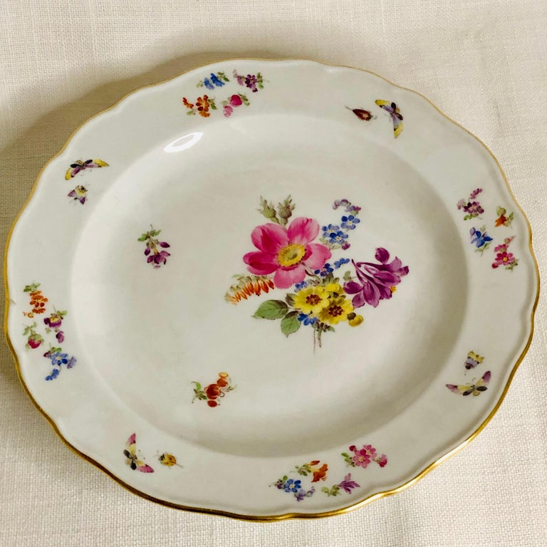 Set of 12 Meissen Luncheon Plates Each Painted with a Different Flower Bouquet For Sale 1