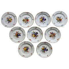 Set of 12 Meissen Plates with Fruits, Insects and Flowers 19.Jhdt Porcelain