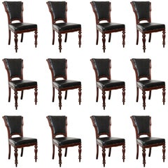 Set of 12, Mid-19th Century Irish, Mahogany Dining Chairs
