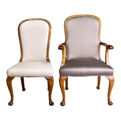 Set of 12 Mid-20th Century Birch Dining Chairs with Upholstered Back & Seats