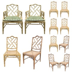 Set of '12' Mid-20th Century Faux Bamboo Dining Chairs with Cane Seats