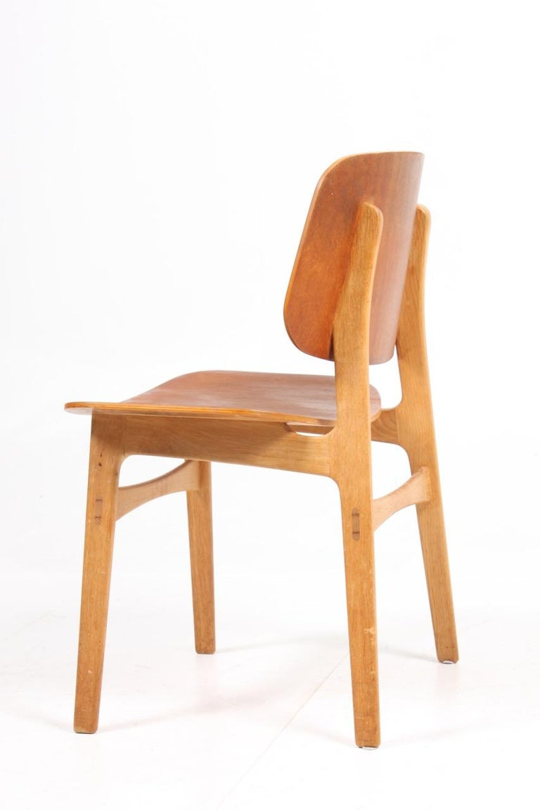 Mid-20th Century Set of 12 Midcentury Side Chairs in Teak and Oak by Børge Mogensen
