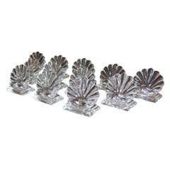 Set of 12 Mid Century Translucent Crystal  Place Card Holders Signed by Baccarat