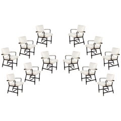 Set of 12 Midcentury Jacques Adnet White Bouclé and Leatherette Armchairs