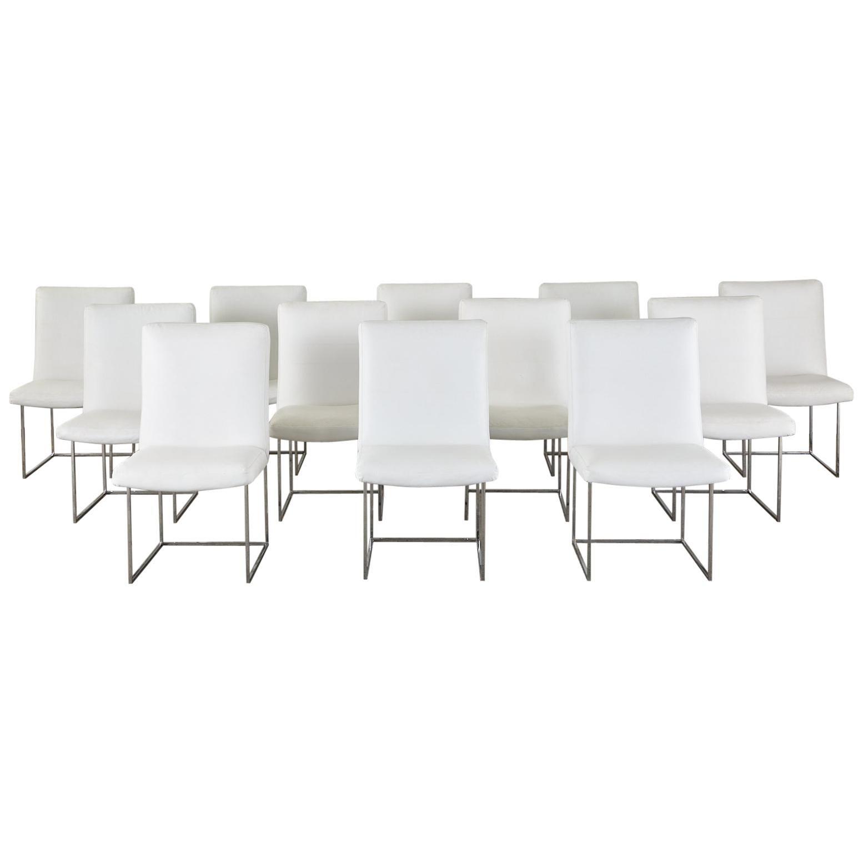Set of 12 Milo Baughman 1187 Thin Line Chrome Dining Chairs