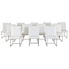 Set of 12 Milo Baughman 1187 Thin Line Chrome Dining Chairs