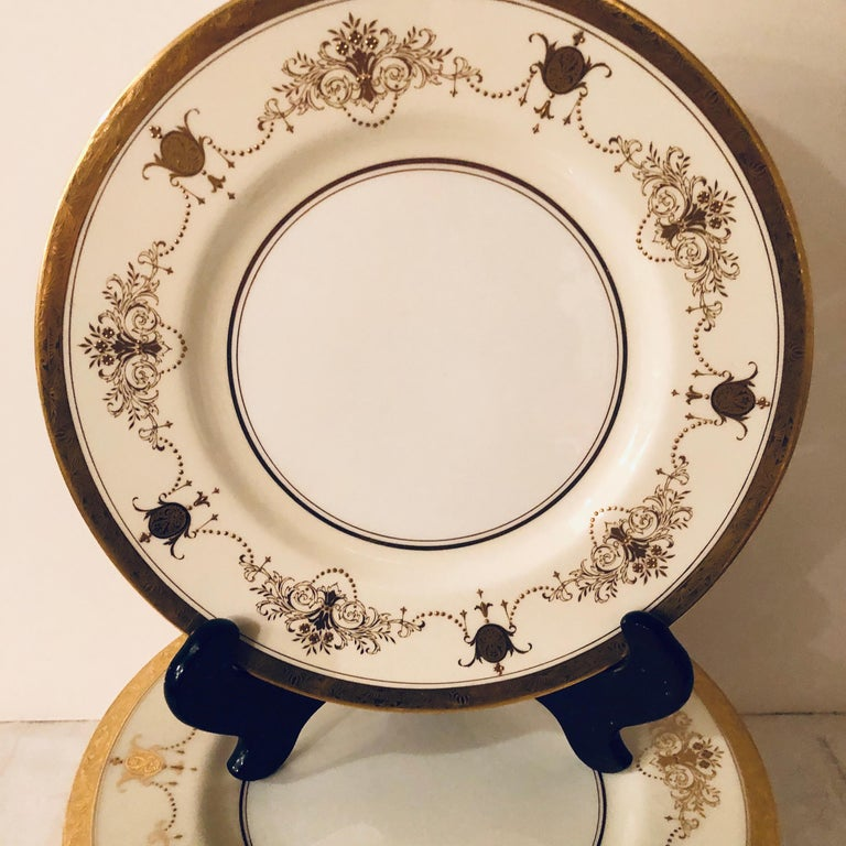 Set of 12 Minton Dinner Plates Decorated with Ribbons of Raised Gilded Jeweling For Sale 3