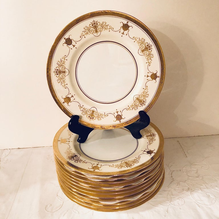 Set of 12 Minton Dinner Plates Decorated with Ribbons of Raised Gilded Jeweling For Sale 4