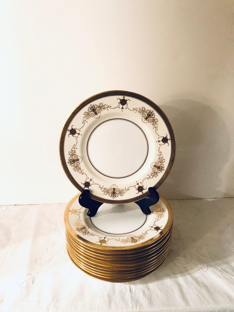 Set of 12 Minton Dinner Plates Decorated with Ribbons of Raised Gilded Jeweling For Sale 1