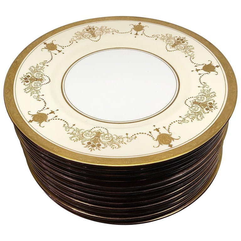 Set of 12 Minton Dinner Plates Decorated with Ribbons of Raised Gilded Jeweling For Sale
