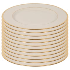 Set of 12 Modernist Dinner Plates in 24-Karat Gold and Bone China by Lenox
