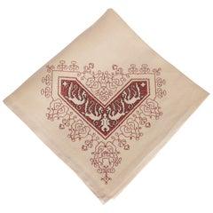 Set of 12 Modernist Pale Crimson & Black Hand Embroidered Ecru Linen Napkins