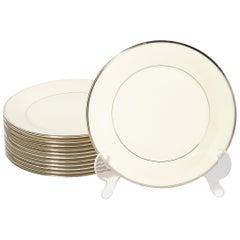 Set of 12 Modernist Porcelain Dinner Plates in Cream w/ Gilt Detailing by Lenox
