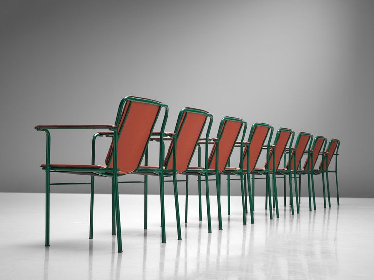 Post-Modern Set of 12 'Movie' Chairs by Mario Marenco for Poltrona Frau For Sale