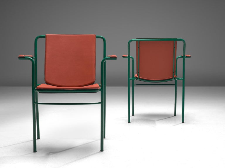 Steel Set of 12 'Movie' Chairs by Mario Marenco for Poltrona Frau For Sale