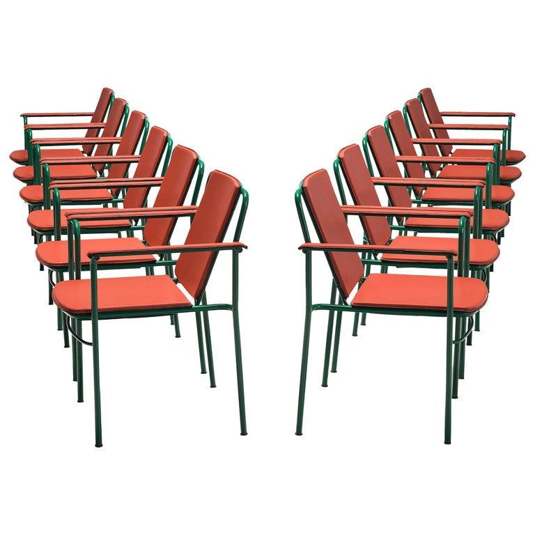 Set of 12 'Movie' Chairs by Mario Marenco for Poltrona Frau For Sale