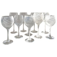 Set of 12 Murano Wine Glasses Attributed to Venini